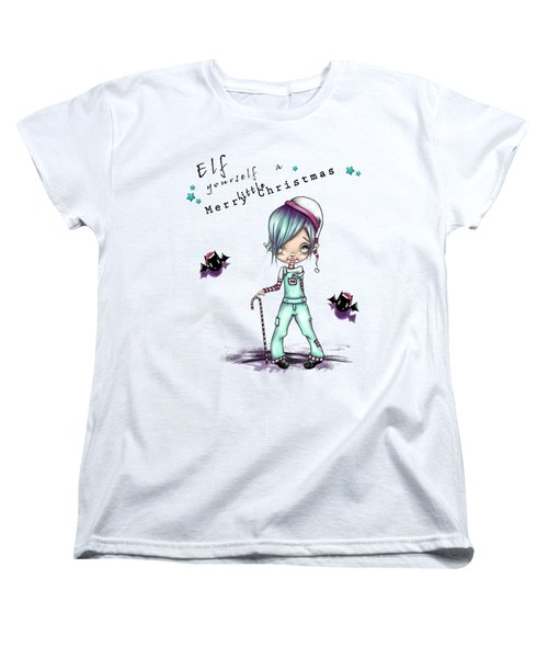 Women's T-Shirt (Standard Cut) featuring the painting Eddie The Elf by Lizzy Love