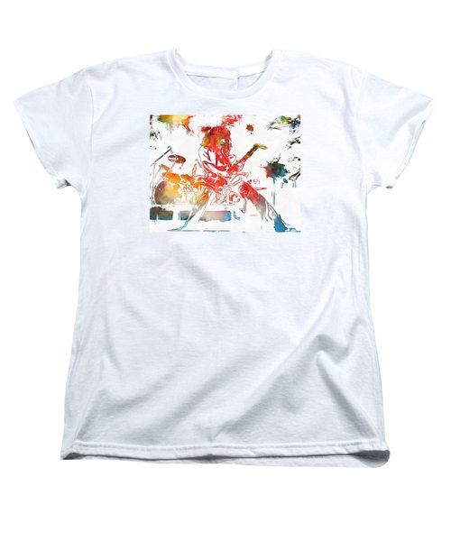 Eddie Van Halen Paint Splatter Women's T-Shirt (Standard Cut) by Dan Sproul