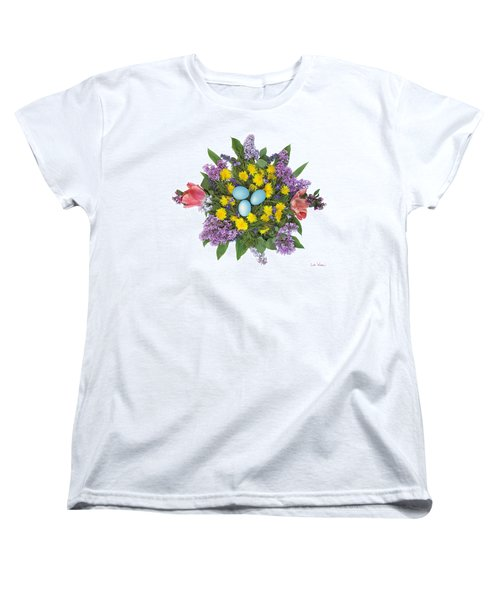 Eggs In Dandelions, Lilacs, Violets And Tulips Women's T-Shirt (Standard Cut) by Lise Winne