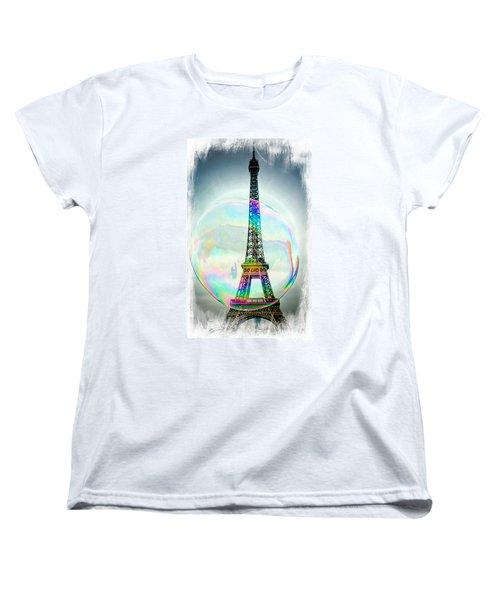 Eiffel Tower Bubble Women's T-Shirt (Standard Cut) by Lilliana Mendez