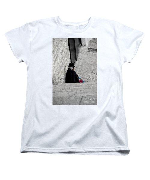 Women's T-Shirt (Standard Cut) featuring the photograph Elderly Beggar In Chordeleg by Al Bourassa