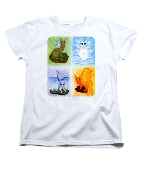 Women's T-Shirt (Standard Cut) featuring the painting Elemental Cats by Carrie Hawks