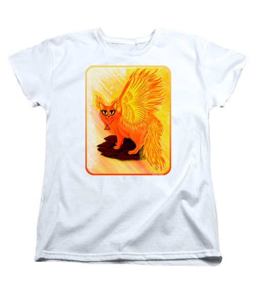 Women's T-Shirt (Standard Cut) featuring the painting Elemental Fire Fairy Cat by Carrie Hawks