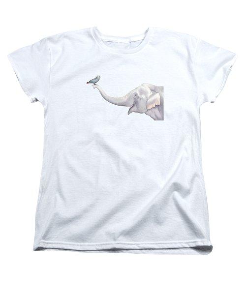 Elephant And Bird Watercolor Women's T-Shirt (Standard Cut) by Taylan Apukovska