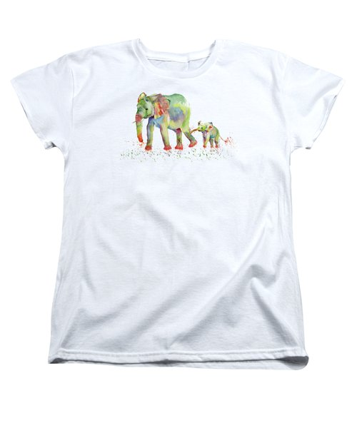 Elephant Family Watercolor  Women's T-Shirt (Standard Cut) by Melly Terpening