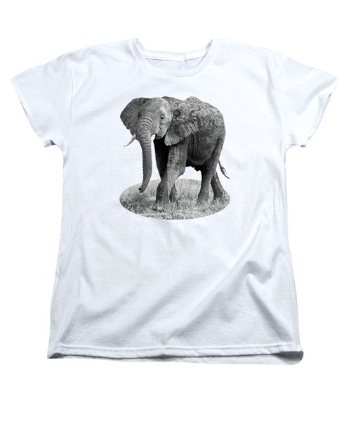 Women's T-Shirt (Standard Cut) featuring the photograph Elephant Happy And Free In Black And White by Gill Billington