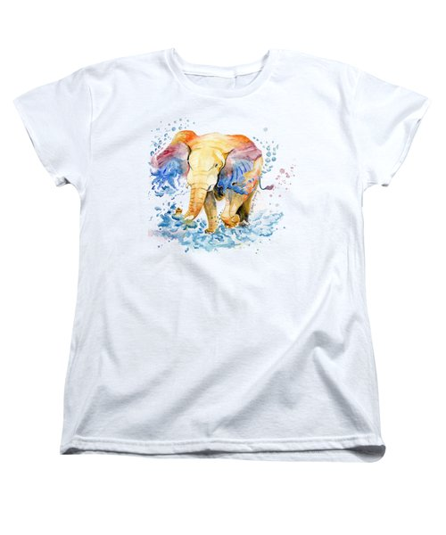 Elephant Watercolor Women's T-Shirt (Standard Cut) by Melly Terpening