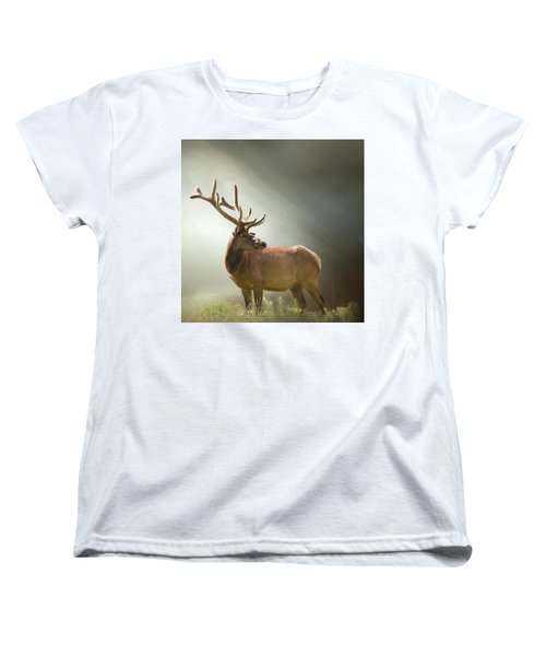 Women's T-Shirt (Standard Cut) featuring the photograph Elk In Suns Rays by David and Carol Kelly