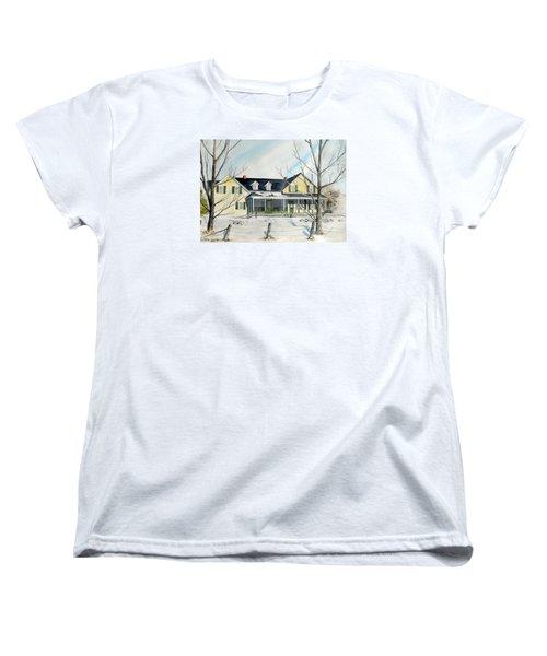 Women's T-Shirt (Standard Cut) featuring the painting Elmridge Farm House by Jackie Mueller-Jones