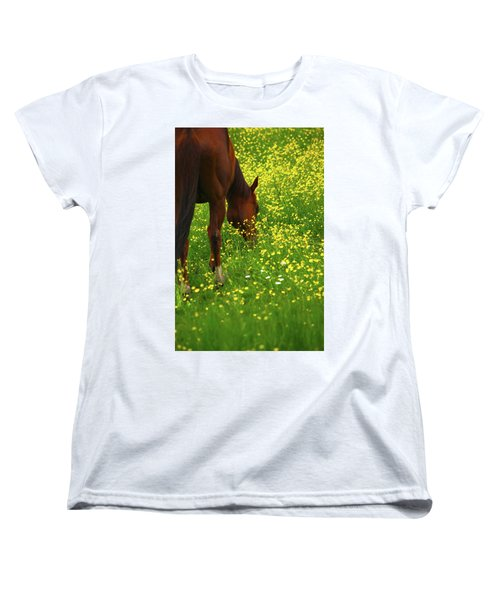 Women's T-Shirt (Standard Cut) featuring the photograph Enjoying The Wildflowers by Karol Livote