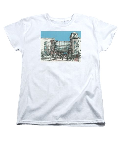 Women's T-Shirt (Standard Cut) featuring the drawing Entry Plaza by Andrew Drozdowicz