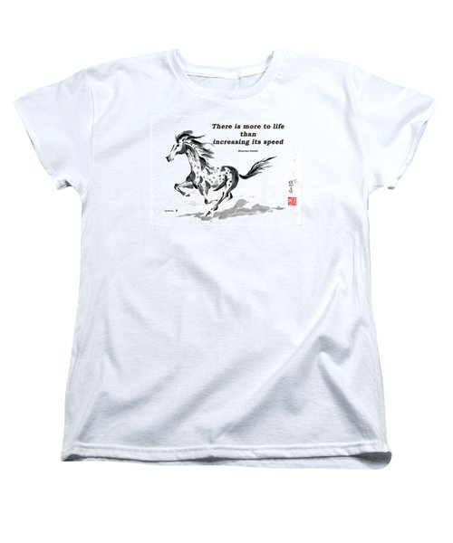 Women's T-Shirt (Standard Cut) featuring the painting Escape With Gandhi Quote  by Bill Searle