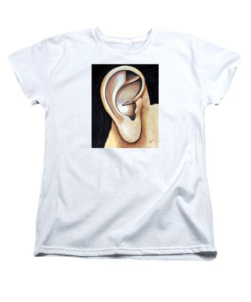 Women's T-Shirt (Standard Cut) featuring the painting Lengua Detractora by Edwin Alverio
