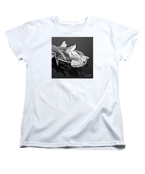 Even Tulips Are Beautiful In Black And White Women's T-Shirt (Standard Cut) by Sherry Hallemeier
