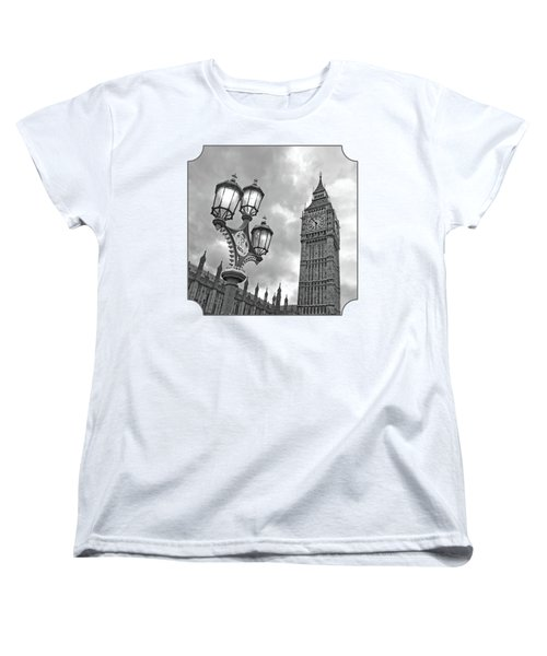Evening Light At Big Ben In Black And White Women's T-Shirt (Standard Cut) by Gill Billington