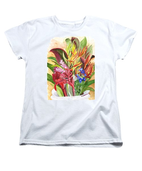Women's T-Shirt (Standard Cut) featuring the painting Everywhere There Were Flowers by Eric Samuelson