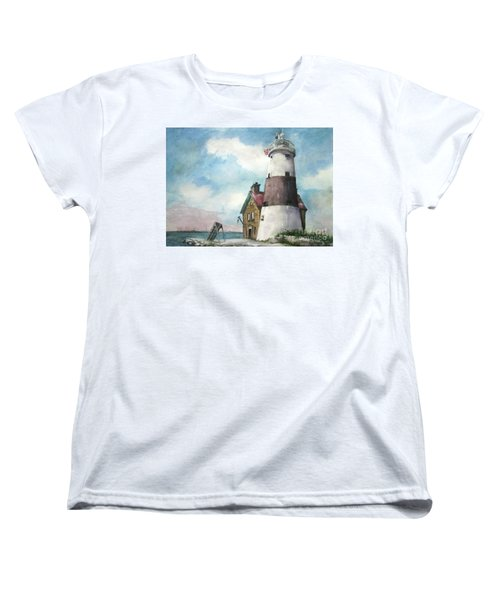 Women's T-Shirt (Standard Cut) featuring the painting Execution Rocks Lighthouse by Susan Herbst