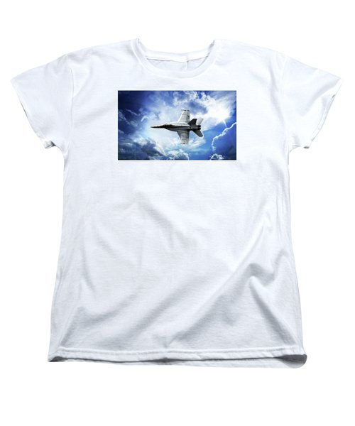 Women's T-Shirt (Standard Cut) featuring the photograph F18 Fighter Jet by Aaron Berg