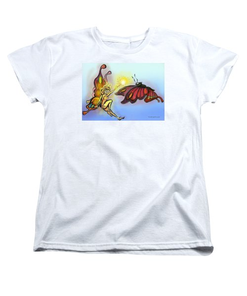 Faerie N Butterfly Women's T-Shirt (Standard Cut) by Kevin Middleton