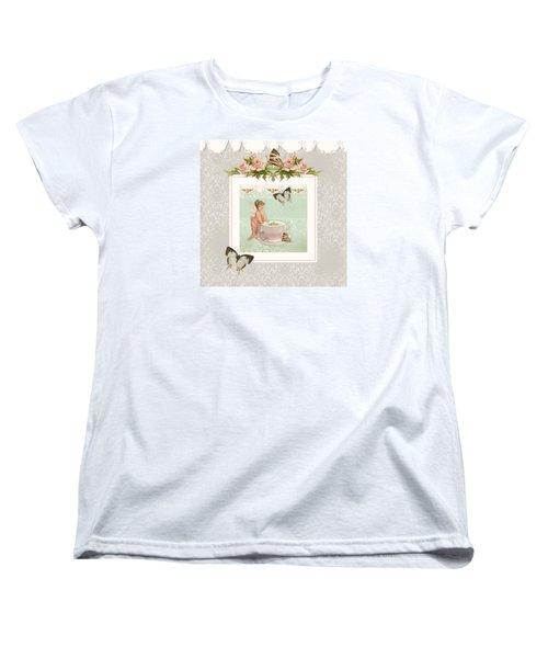 Fairy Teacups - Flutterbye Butterflies And English Rose Damask Women's T-Shirt (Standard Cut) by Audrey Jeanne Roberts