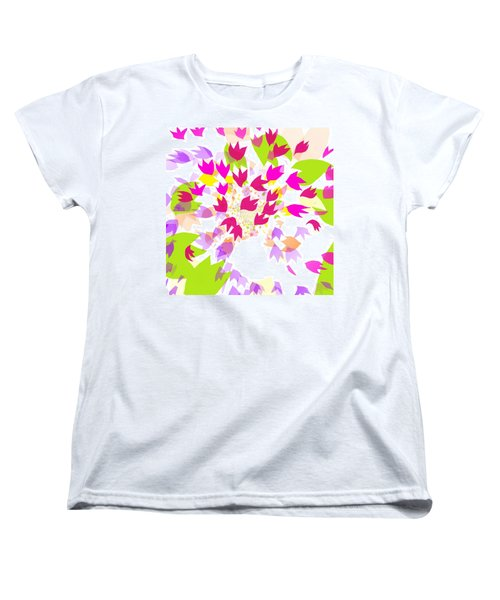 Women's T-Shirt (Standard Cut) featuring the digital art Falling Leaves by Barbara Moignard