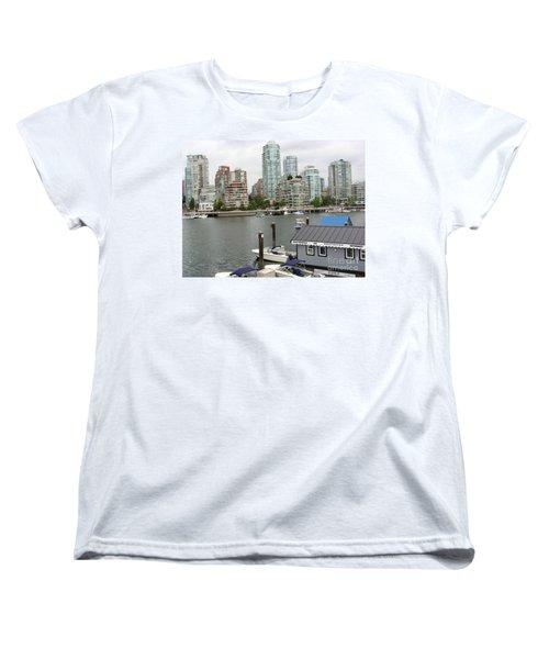 Women's T-Shirt (Standard Cut) featuring the painting False Creek Vancouver by Rod Jellison