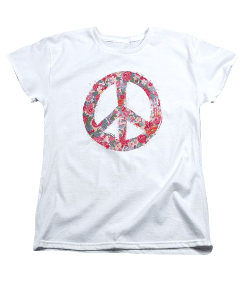 Women's T-Shirt (Standard Cut) featuring the digital art Far Too Pretty Peace Symbol #1 by Nola Lee Kelsey
