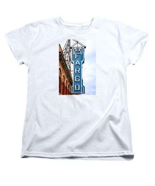 Fargo Blue Theater Sign Women's T-Shirt (Standard Cut) by Chris Smith