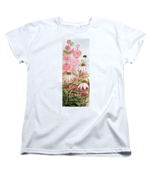 Women's T-Shirt (Standard Cut) featuring the painting Farmhouse Garden by Laurie Rohner