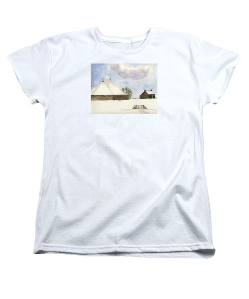 Women's T-Shirt (Standard Cut) featuring the painting Farmhouse In The Snow by Annemeet Hasidi- van der Leij