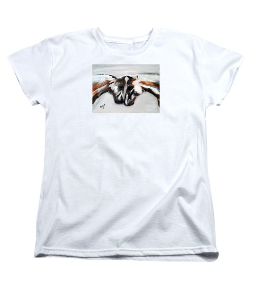 Women's T-Shirt (Standard Cut) featuring the painting Father And Daughter - Find All The Animals Inside by Barbie Batson