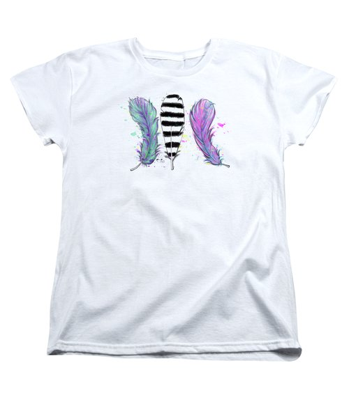 Women's T-Shirt (Standard Cut) featuring the digital art Feathers by Lizzy Love