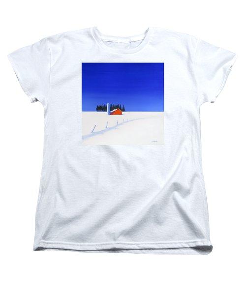 Women's T-Shirt (Standard Cut) featuring the painting February Fields by Jo Appleby