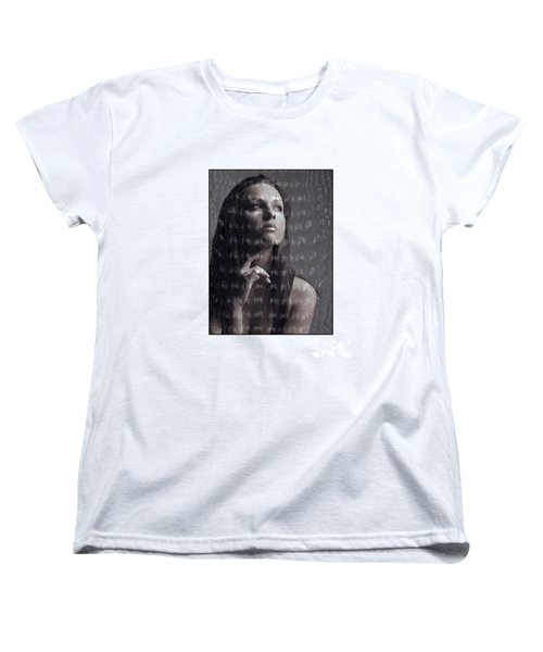 Women's T-Shirt (Standard Cut) featuring the photograph Female Portrait With Reptile Texture by Michael Edwards