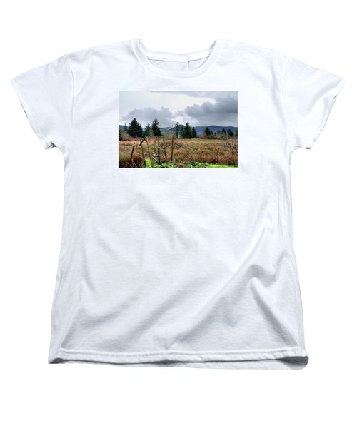 Women's T-Shirt (Standard Cut) featuring the photograph Field, Clouds, Distant Foggy Hills by Chriss Pagani
