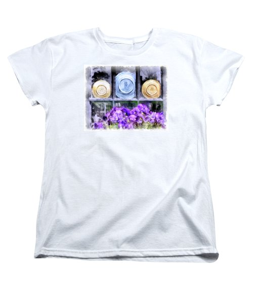 Fiestaware Window Display With Pansies Women's T-Shirt (Standard Cut) by Betty Denise