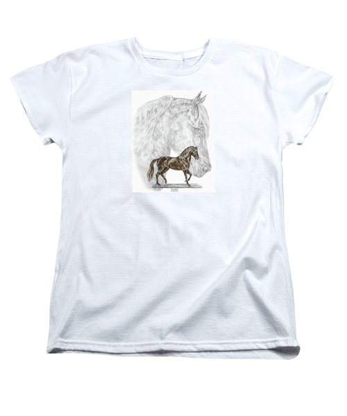 Women's T-Shirt (Standard Cut) featuring the drawing Fine Steps - Paso Fino Horse Print Color Tinted by Kelli Swan