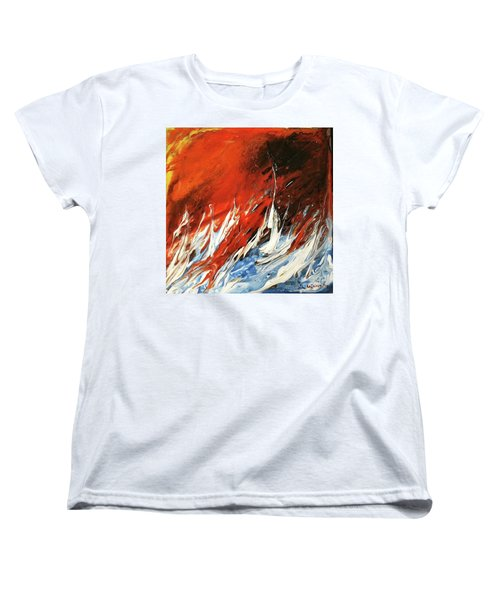 Fire And Lava Women's T-Shirt (Standard Cut) by Kathleen Pio