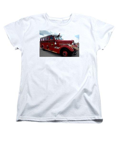 Fire Truck Selfridge Michigan Women's T-Shirt (Standard Cut) by LeeAnn McLaneGoetz McLaneGoetzStudioLLCcom