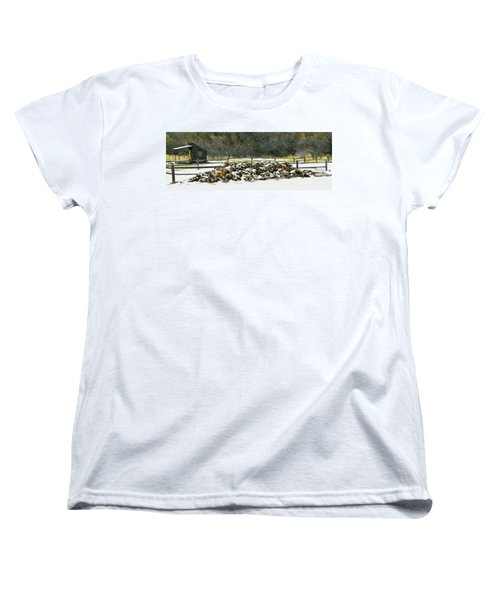 Women's T-Shirt (Standard Cut) featuring the photograph Firewood In The Snow At Fort Tejon by Floyd Snyder