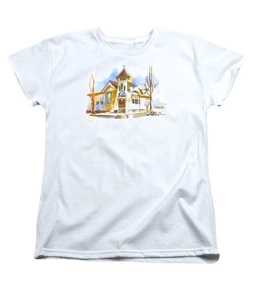 Women's T-Shirt (Standard Cut) featuring the painting First Baptist Church In Winter by Kip DeVore