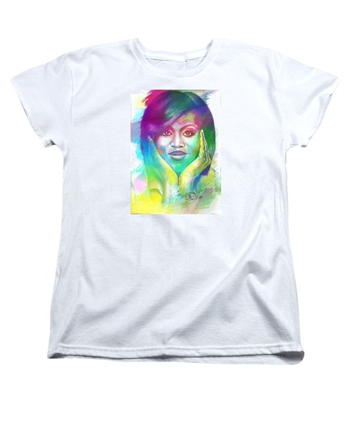 Women's T-Shirt (Standard Cut) featuring the mixed media First Lady Obama by AC Williams
