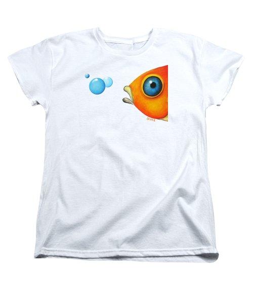 Fish Bubbles Women's T-Shirt (Standard Cut) by Oiyee At Oystudio