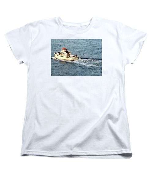 Women's T-Shirt (Standard Cut) featuring the photograph Fishing And Seagulls by Randall Weidner