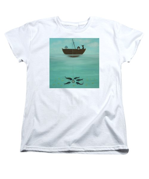 Women's T-Shirt (Standard Cut) featuring the painting Fishing For Time by Tone Aanderaa