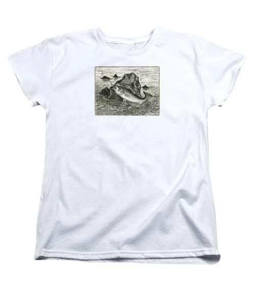 Women's T-Shirt (Standard Cut) featuring the photograph Fishing The Rocks by Charles Harden