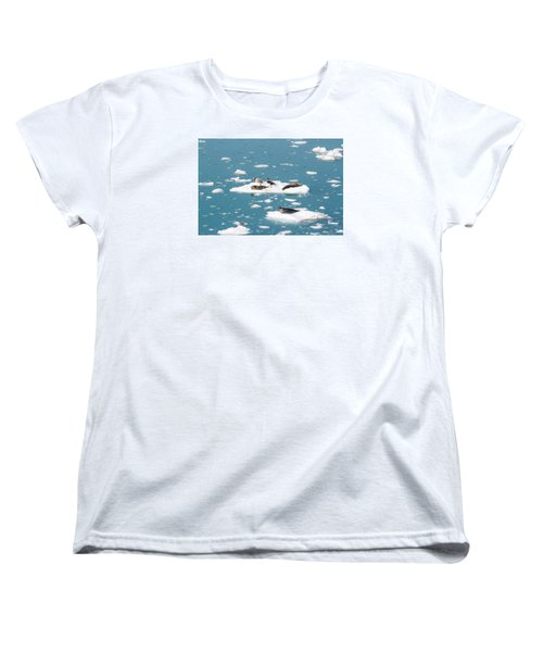 Five Habor Seals On Ice Flows Women's T-Shirt (Standard Cut) by Allan Levin
