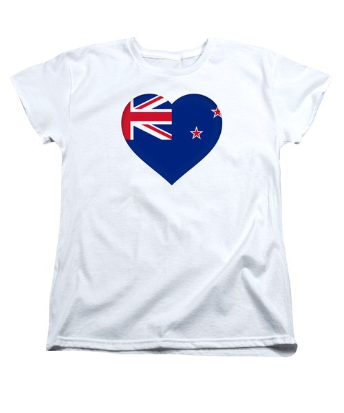 Flag Of New Zealand Heart Women's T-Shirt (Standard Cut) by Roy Pedersen