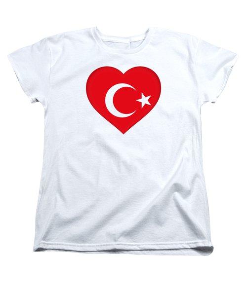 Flag Of Turkey Heart Women's T-Shirt (Standard Cut) by Roy Pedersen