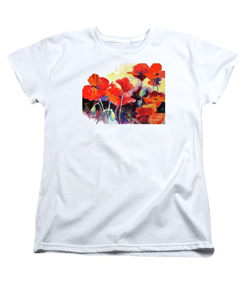 Women's T-Shirt (Standard Cut) featuring the painting Flaming Poppies by Kathy Braud